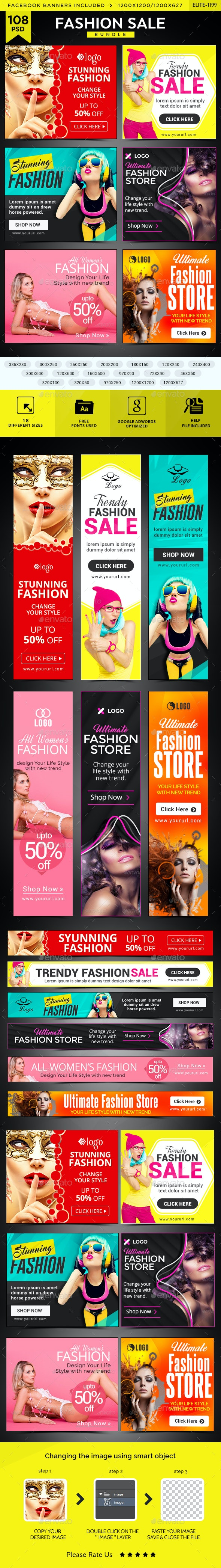 Fashion Sale Banners Bundle - 6 Sets - Banners & Ads Web Elements