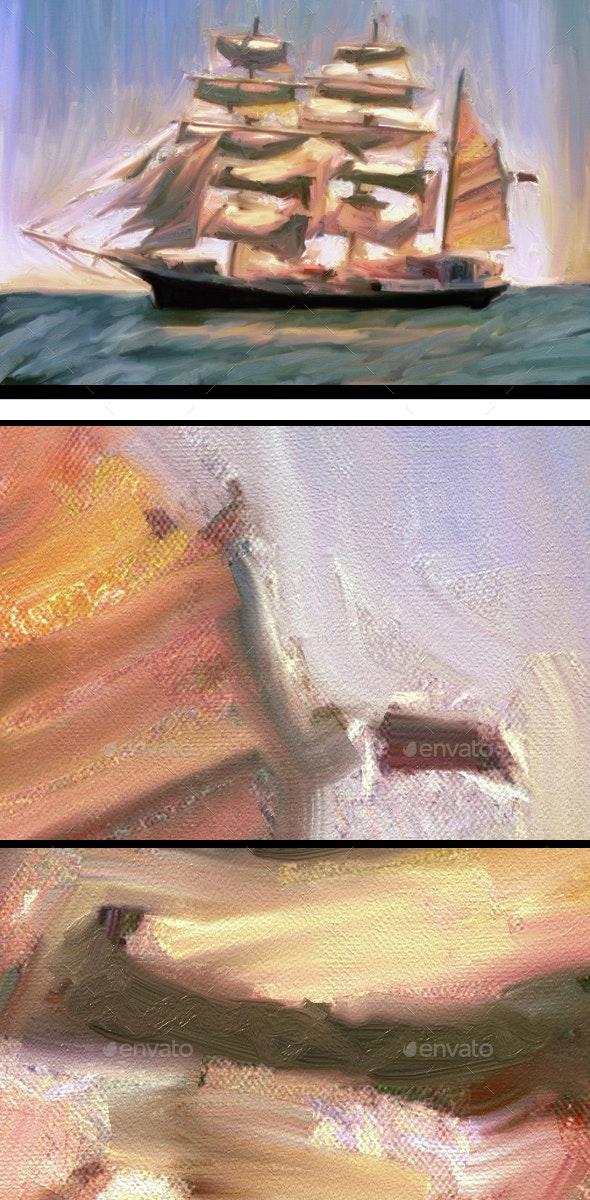 Abstract Sailboat  - Art Textures