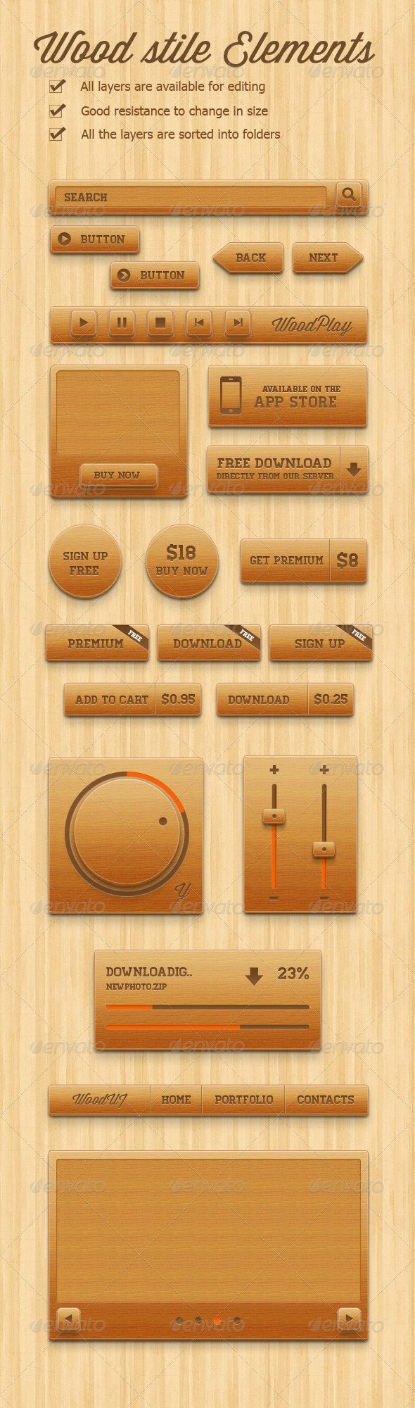 Wood style elements - User Interfaces Web Elements