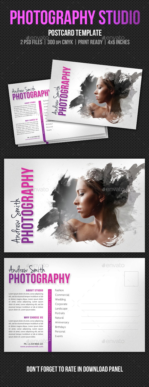 Photography Studio Postcard Template V04 - Cards & Invites Print Templates
