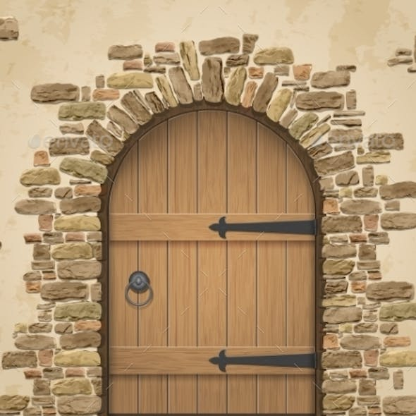 Arch Of Stone With Closed Wooden Door
