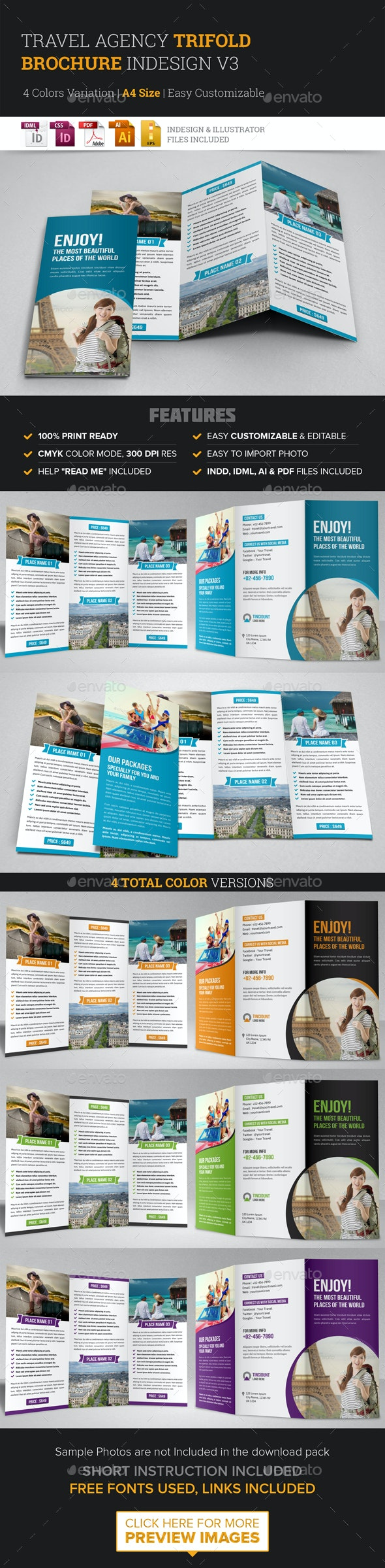Travel Trifold Brochure InDesign Template v3 - Corporate Brochures