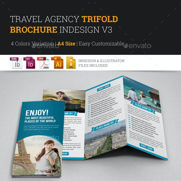 Travel Trifold Brochure InDesign Template v3