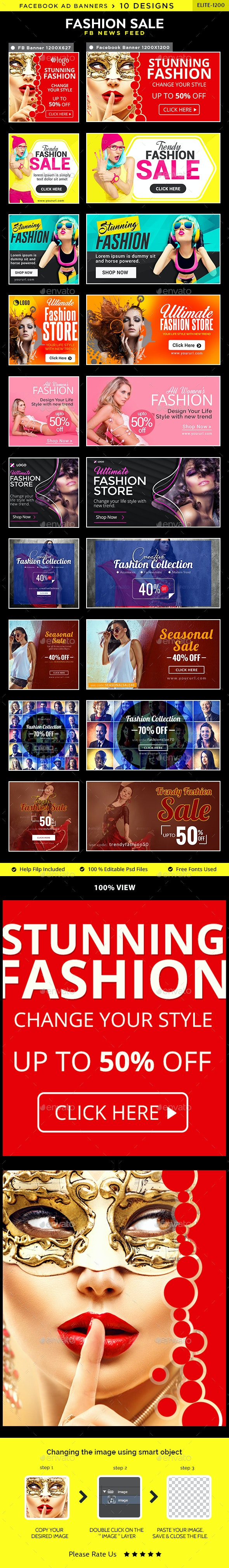 Fashion Sale Facebook News Feed Banners - 10 Designs - 2 Sizes Each - Social Media Web Elements