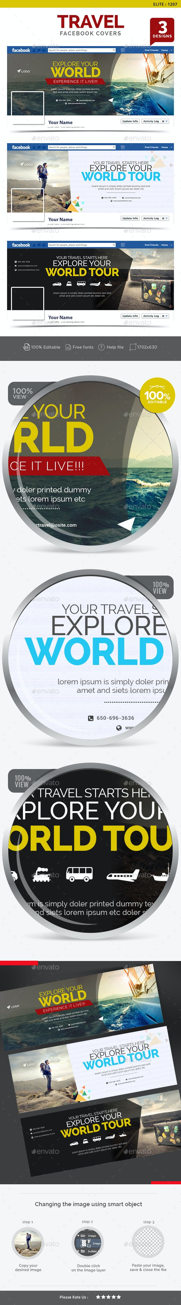 Travel Facebook Covers - 3 Designs - Facebook Timeline Covers Social Media