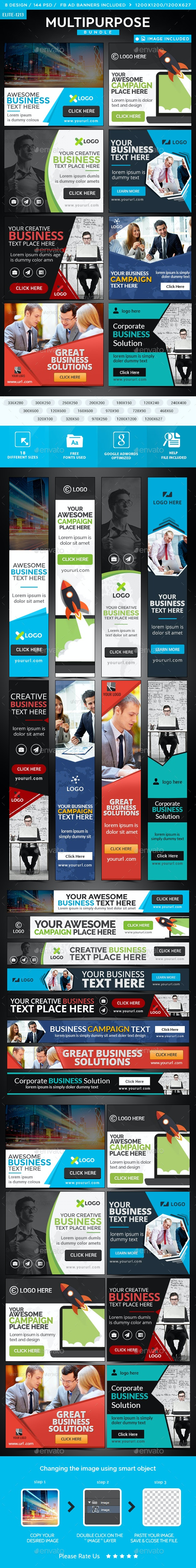 Multipurpose Banners Bundle - 8 Sets - 144 Banners - Banners & Ads Web Elements