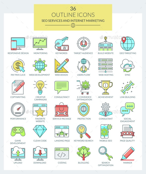 Outline Icons SEO and Marketing (Color) - Web Icons