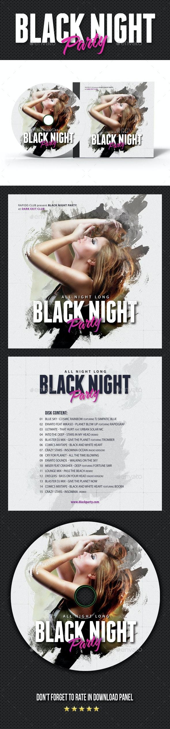 Black Party Event CD Cover Artwork - CD & DVD Artwork Print Templates