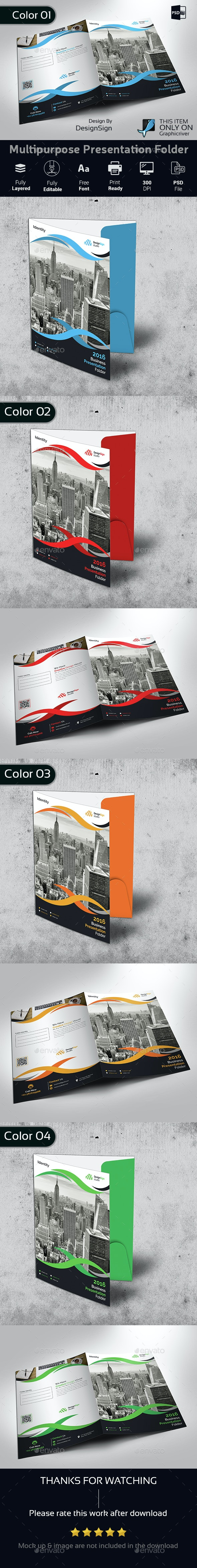 Multipurpose Business Presentation Folder - Stationery Print Templates