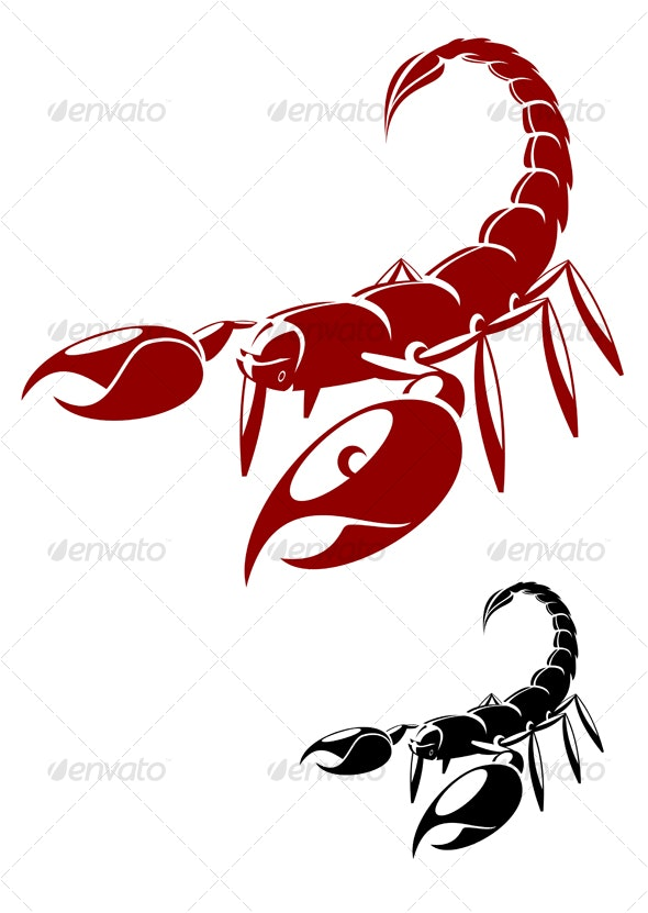 Isolated scorpion in danger pose - Tattoos Vectors