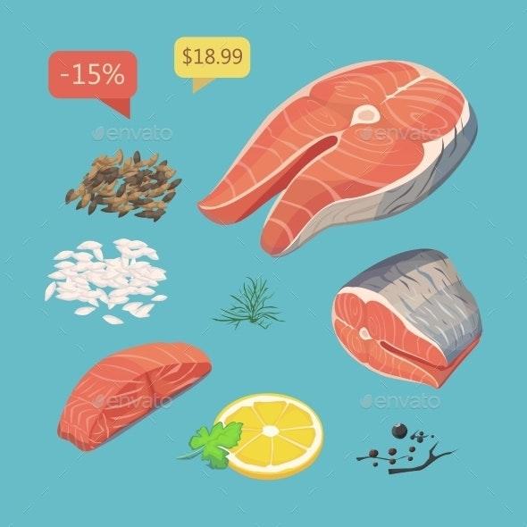 Salmon Steak.  Steak Fish. Fresh Organic Seafood - Food Objects