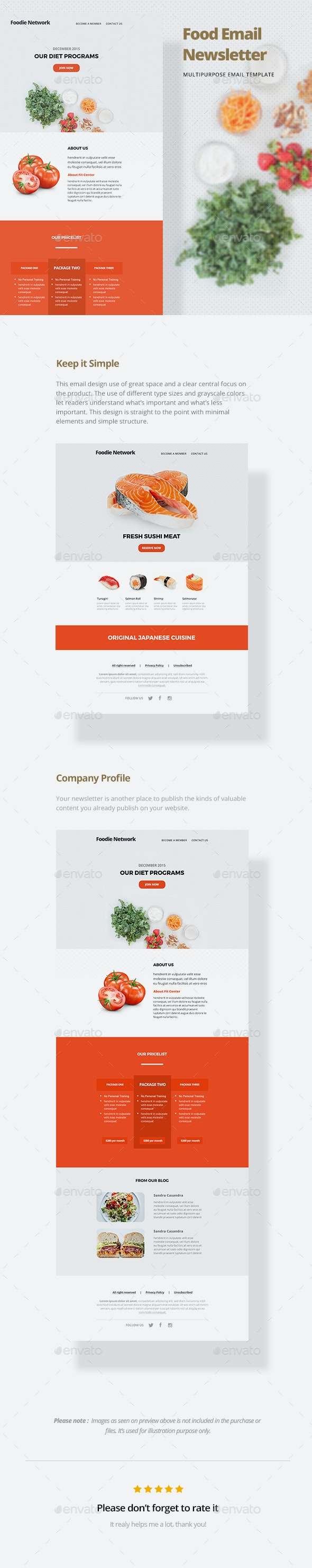 Food Email Template - E-newsletters Web Elements