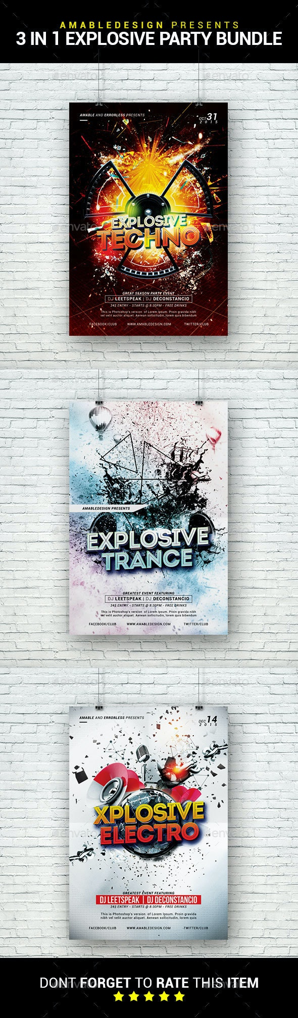 3 in 1 Explosive Party Flyer/Poster Bundle - Clubs & Parties Events