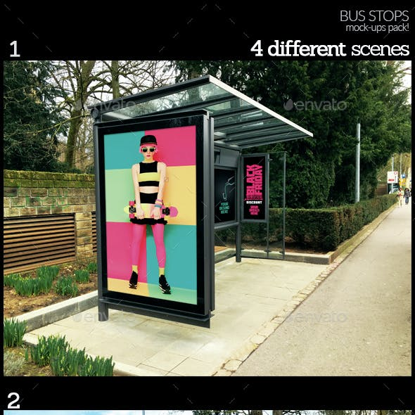 Bus Stops Mock-Ups Pack