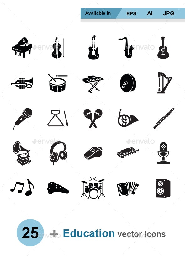Music vector icons - Man-made objects Objects