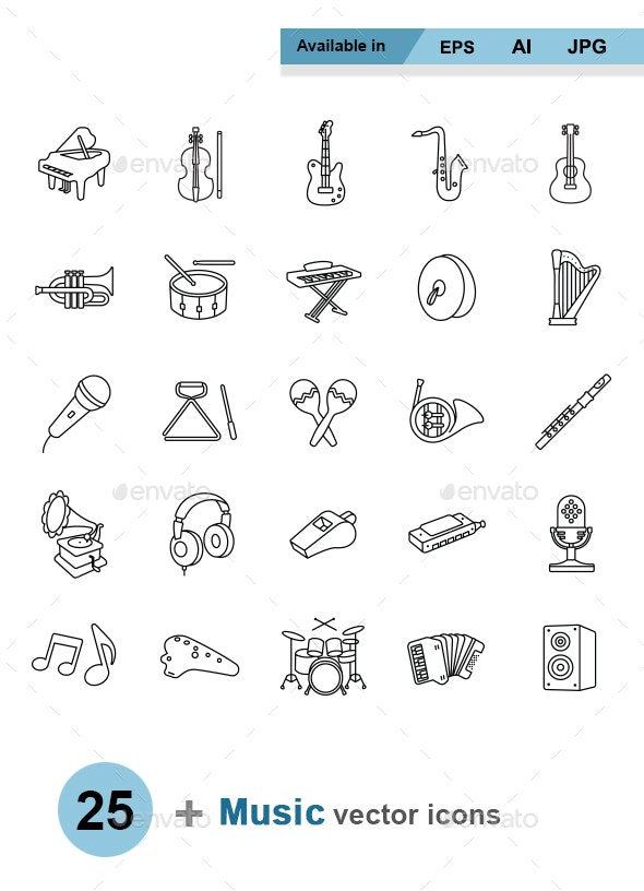 Music outlines vector icons - Man-made objects Objects