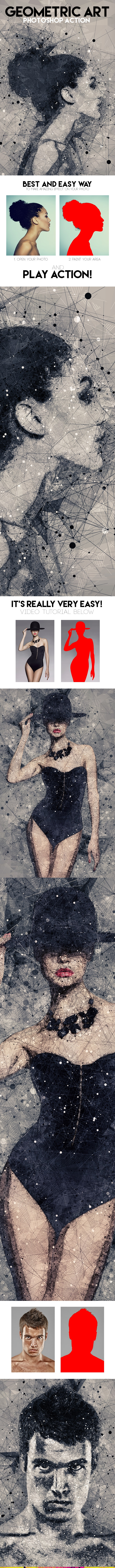 Geometric Art Photoshop Action - Photo Effects Actions