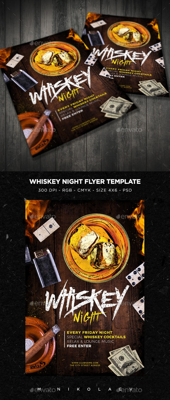 Whiskey Night Flyer V2 - Clubs & Parties Events