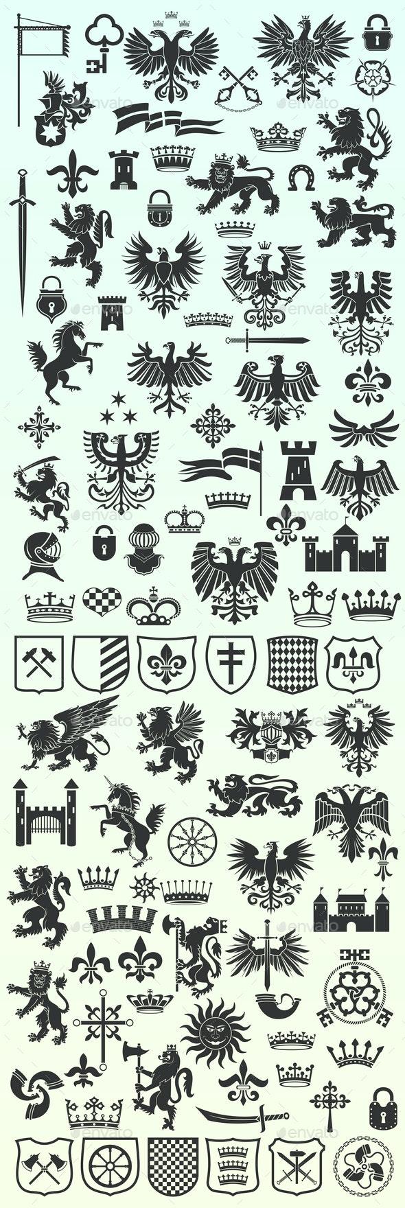 Set of Heraldic Design Elements