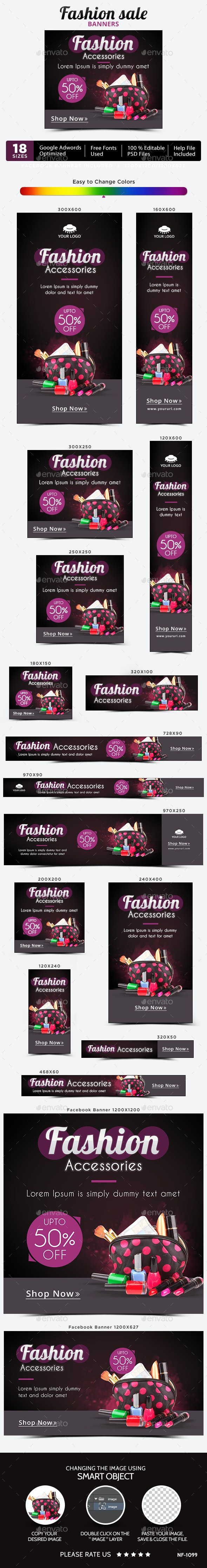 Fashion Accessories Banners - Banners & Ads Web Elements