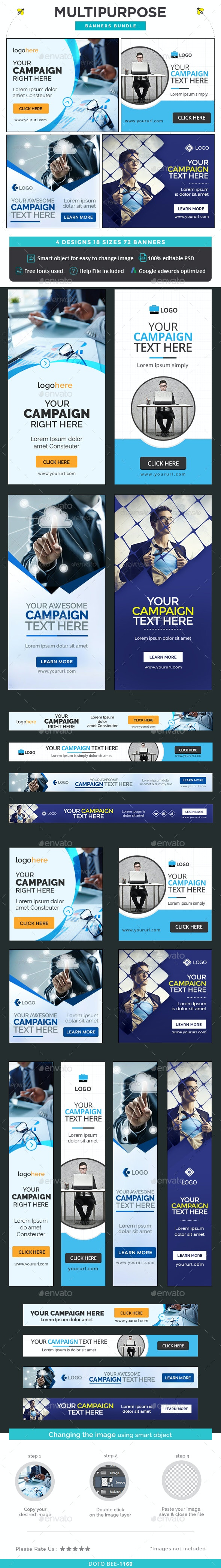 Multipurpose Banners Bundle - 4 Sets - Banners & Ads Web Elements