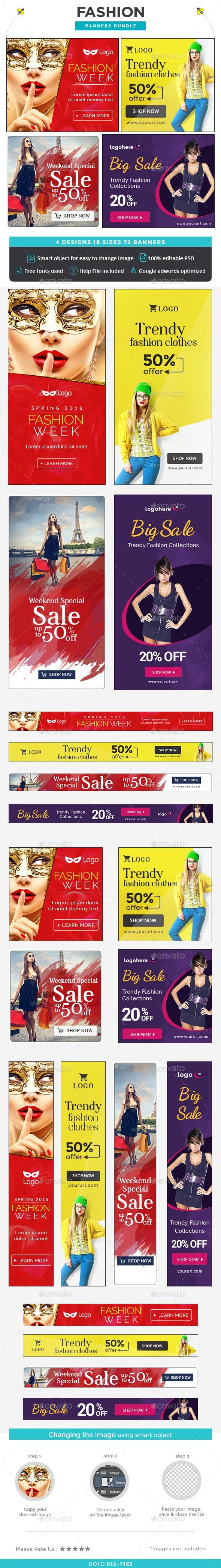 Fashion Banners Bundle - 4 Sets - Banners & Ads Web Elements