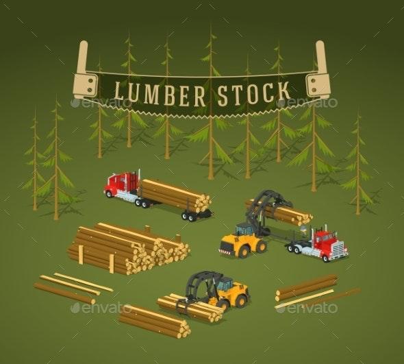 Lumber Stock. Logs Loading On Trucks - Industries Business