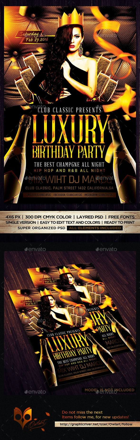 Luxury Birthday Party Flyer Template PSD - Flyers Print Templates