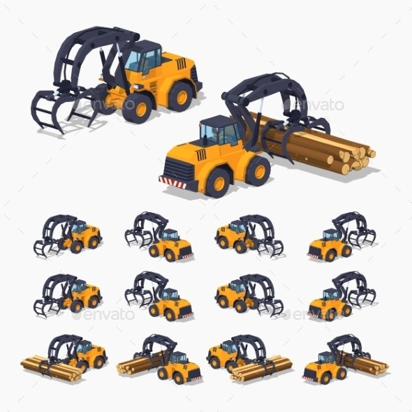 Yellow Log Loader - Man-made Objects Objects