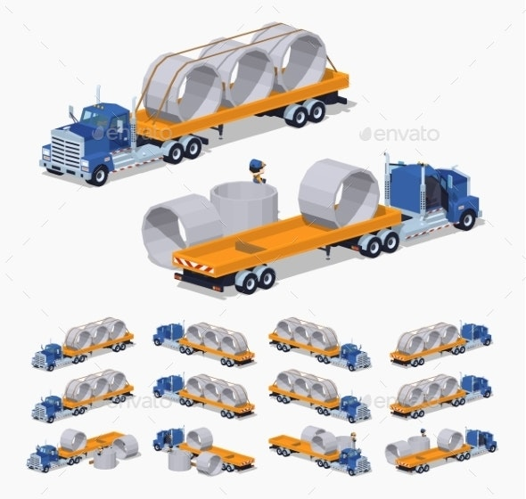 Blue Heavy Truck And Yellow Trailer With The
