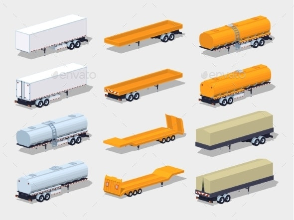 Collection Of Semitrailers - Man-made Objects Objects