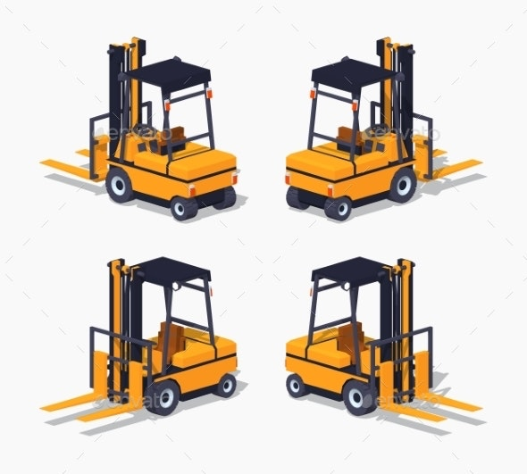 Orange Forklift Truck - Man-made Objects Objects