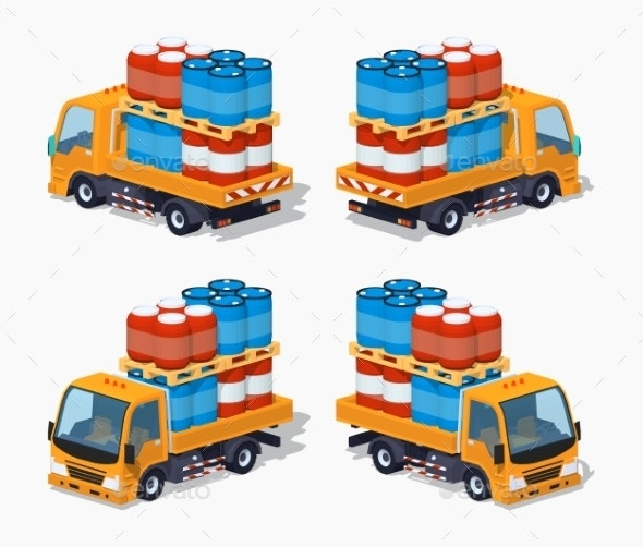 Orange Truck Loaded With Barrels - Man-made Objects Objects