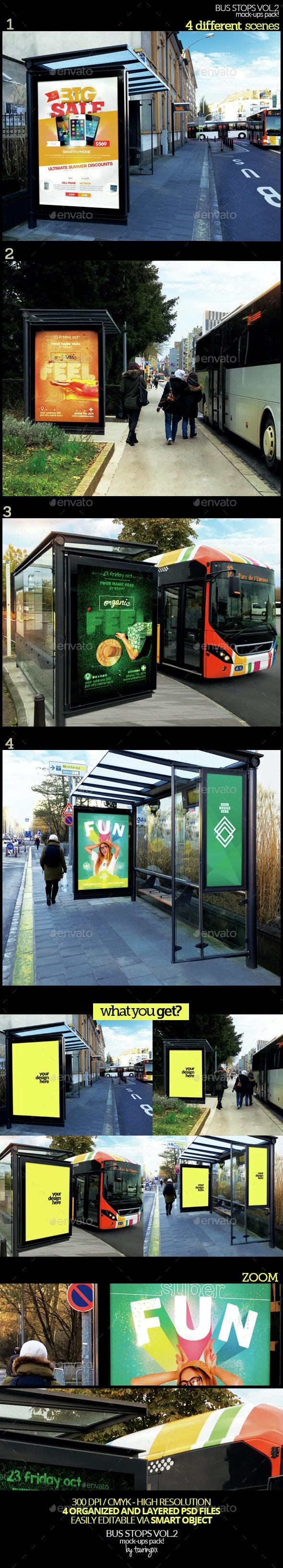 Bus Stops Vol.2 Mock-Ups Pack - Product Mock-Ups Graphics