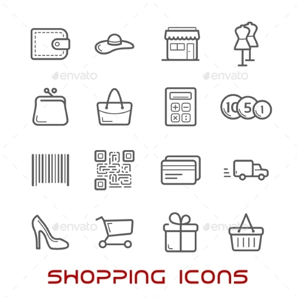 Shopping And Retail Thin Line Icons - Business Icons