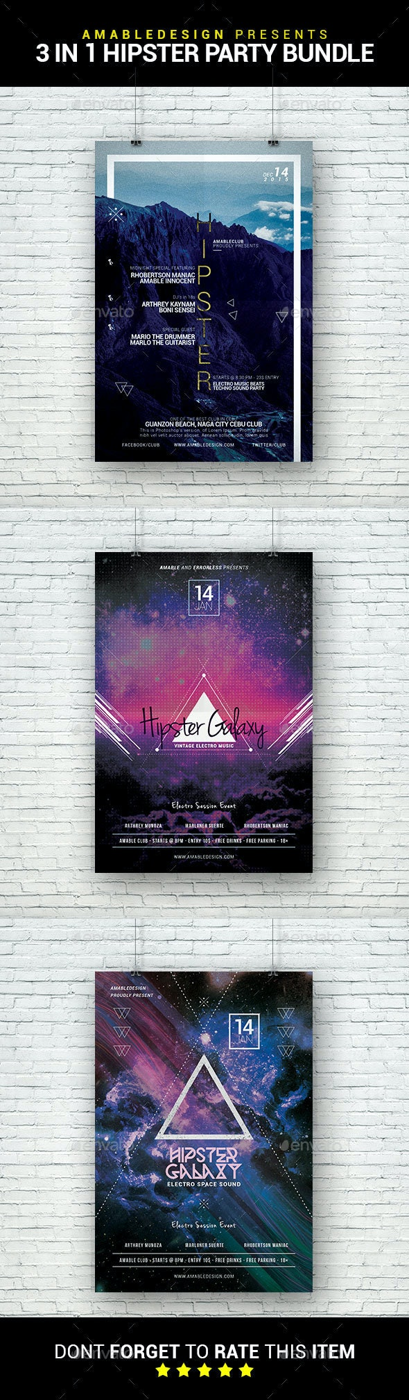 3 in 1 Hipster Party Flyer/Poster Bundle - Clubs & Parties Events