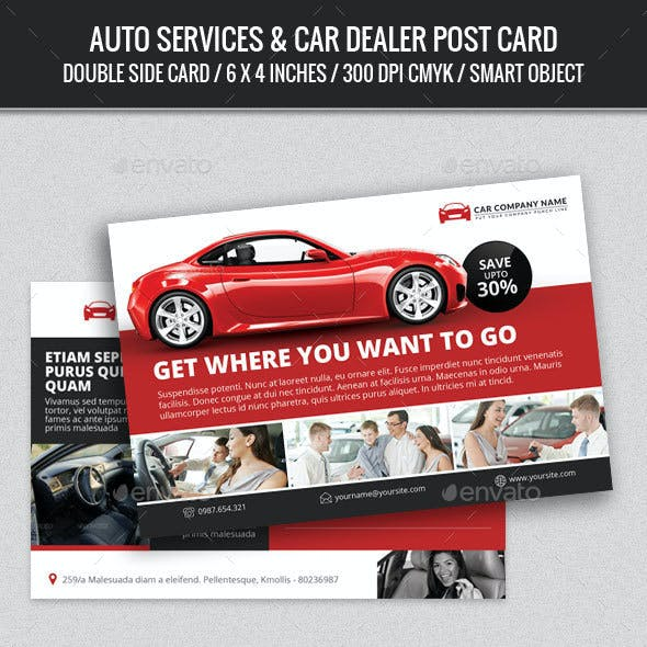 Auto Services & Car Dealer Post Card