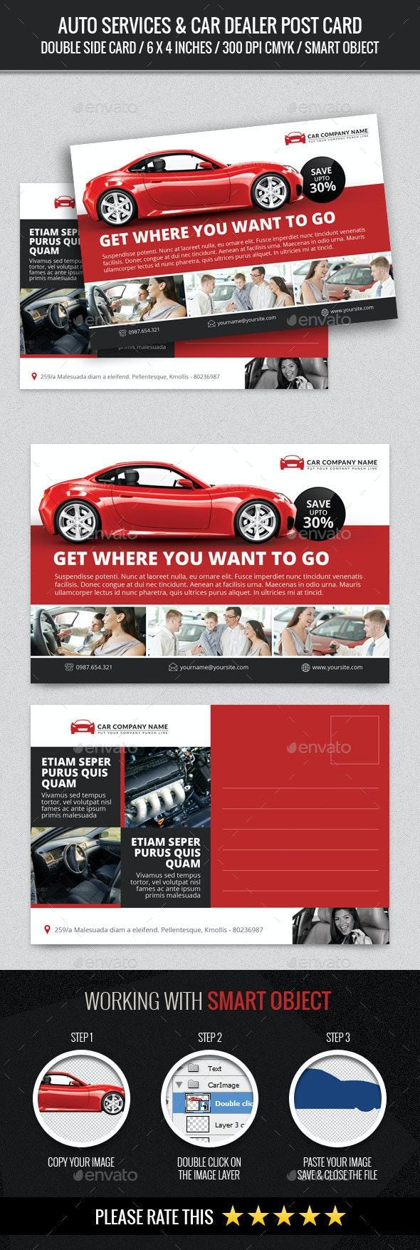 Auto Services & Car Dealer Post Card - Cards & Invites Print Templates