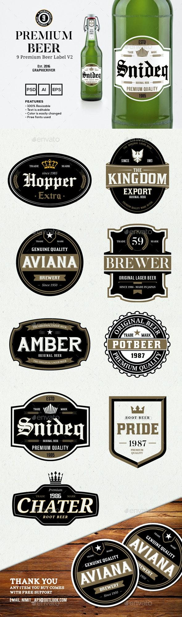 9 Premium Beer Labels V2 - Badges & Stickers Web Elements