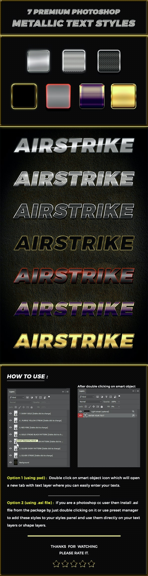 7 Premium Airstrike Photoshop metallic text styles - Text Effects Styles
