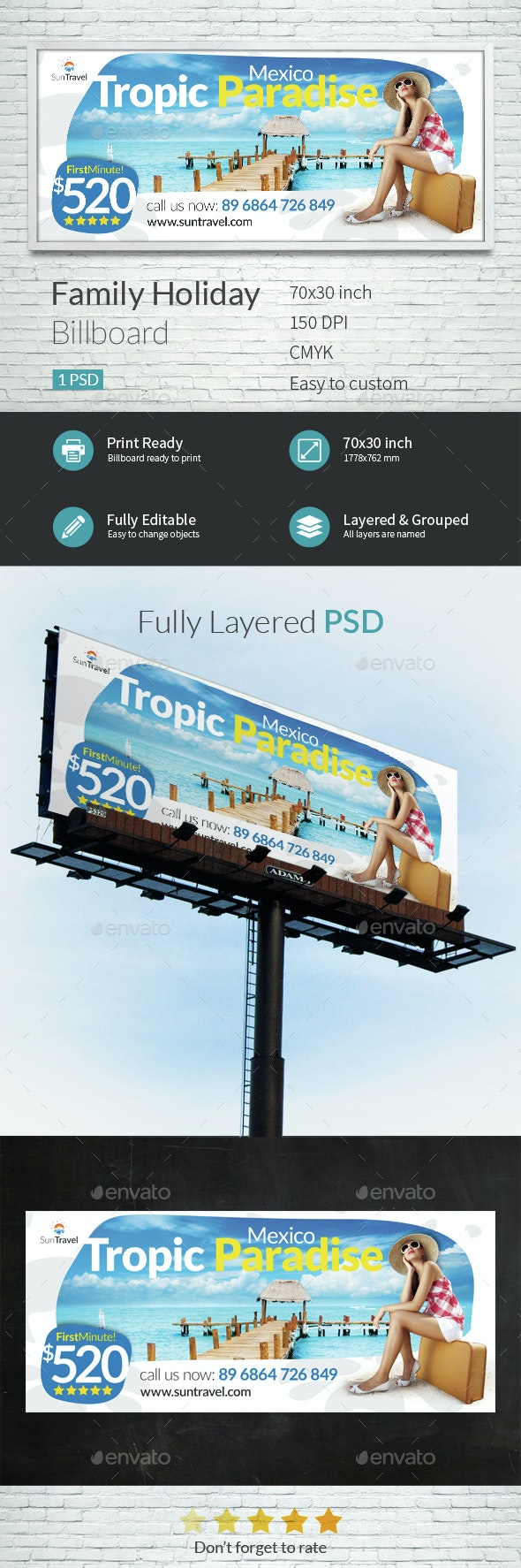 Family Holiday Billboard Template - Signage Print Templates