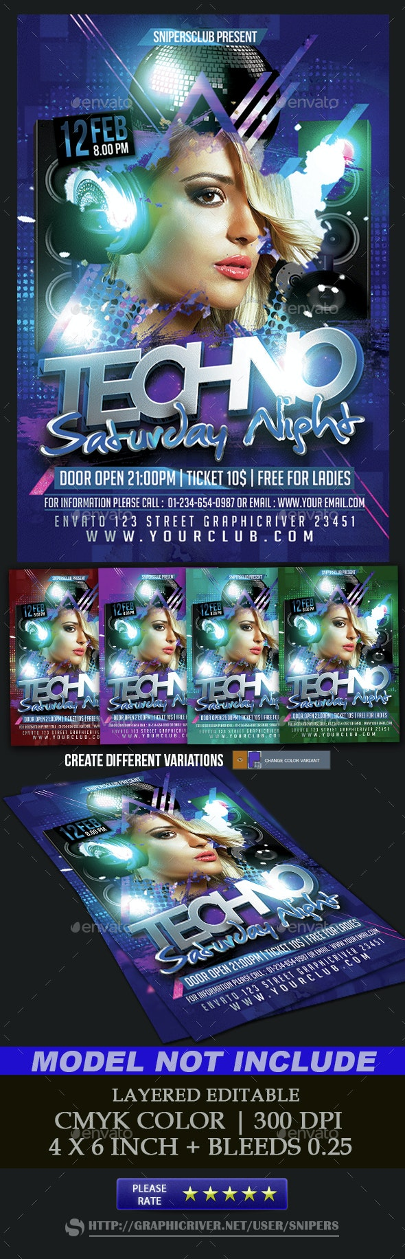 Techno Saturday Night - Events Flyers