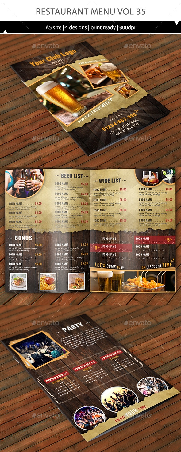 Restaurant Menu Vol 35 - Food Menus Print Templates