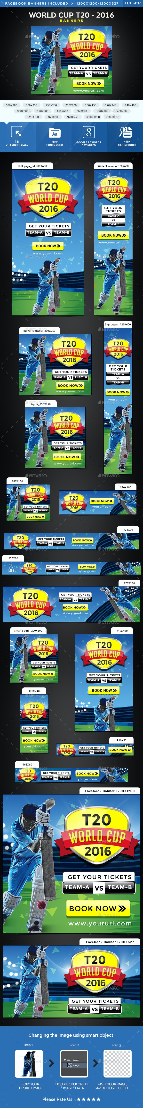 World Cup T20 Banners - Banners & Ads Web Elements