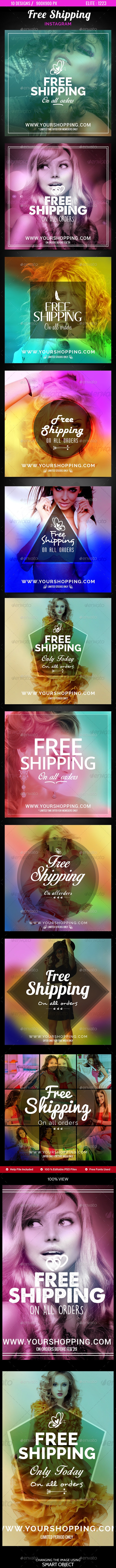 Free Shipping Instagram Templates - 10 Designs - Banners & Ads Web Elements