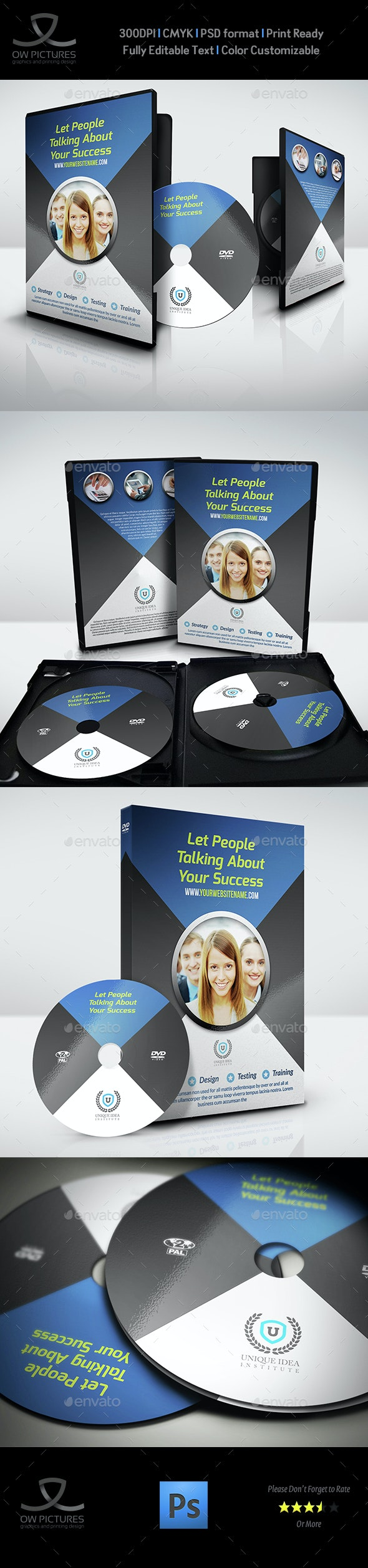 Corporate DVD Cover and Label Template - CD & DVD Artwork Print Templates