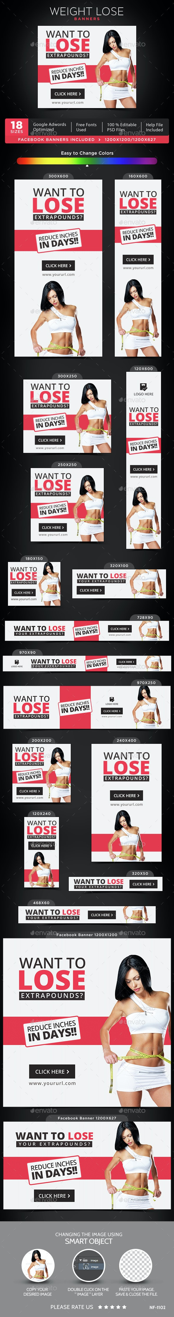 Weight Loss Banners - Banners & Ads Web Elements