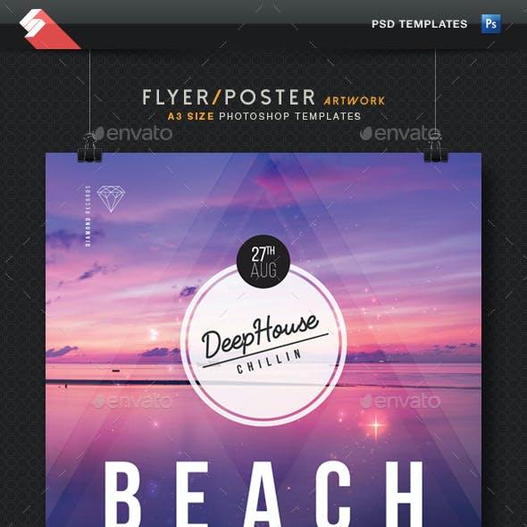 Beach Session - Deep House Flyer Templates A3