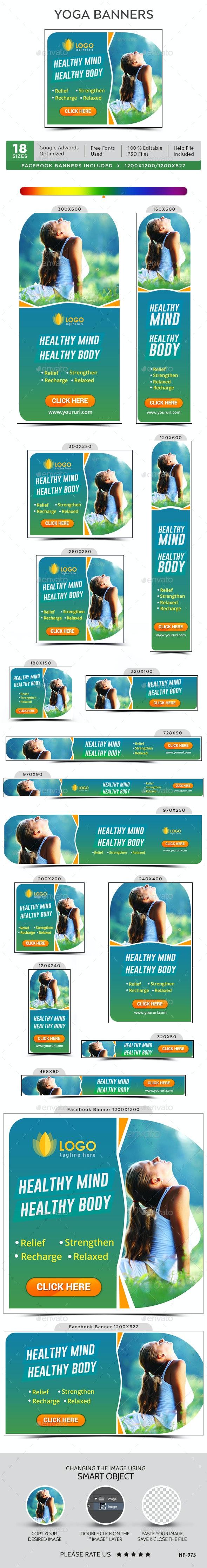 Yoga & Meditation Banners - Banners & Ads Web Elements