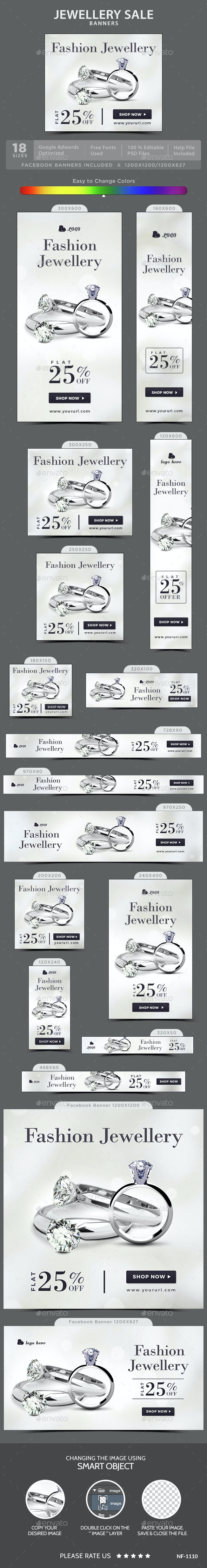 Jewellery Sale Banners - Banners & Ads Web Elements